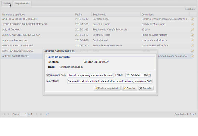 Seguimiento a pacientes - Software dental online DentOS